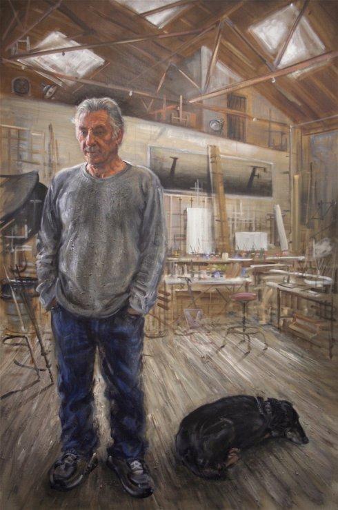 ED RUSCHA IN HIS STUDIO